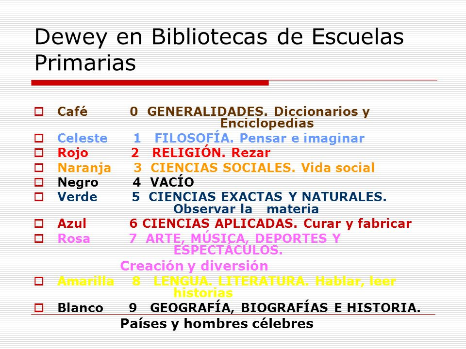 Dewey en Bibliotecas de Escuelas Primarias