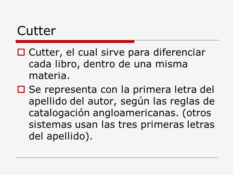 CutterCutter, el cual sirve para diferenciar cada libro, dentro de una misma materia.