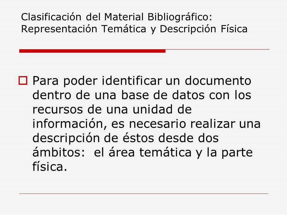 Clasificación del Material Bibliográfico: Representación Temática y Descripción Física