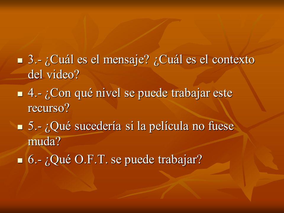 3.- ¿Cuál es el mensaje ¿Cuál es el contexto del video