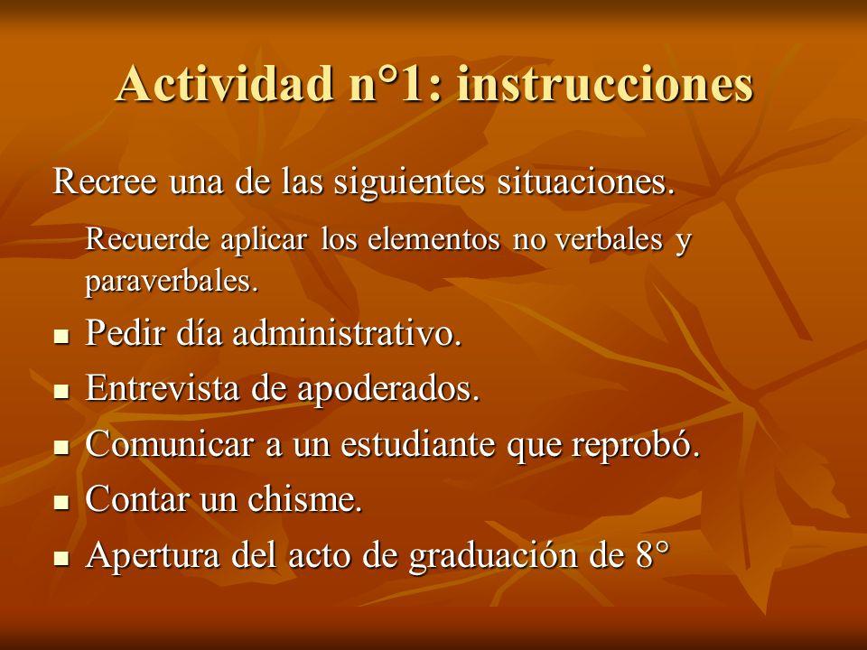 Actividad n°1: instrucciones