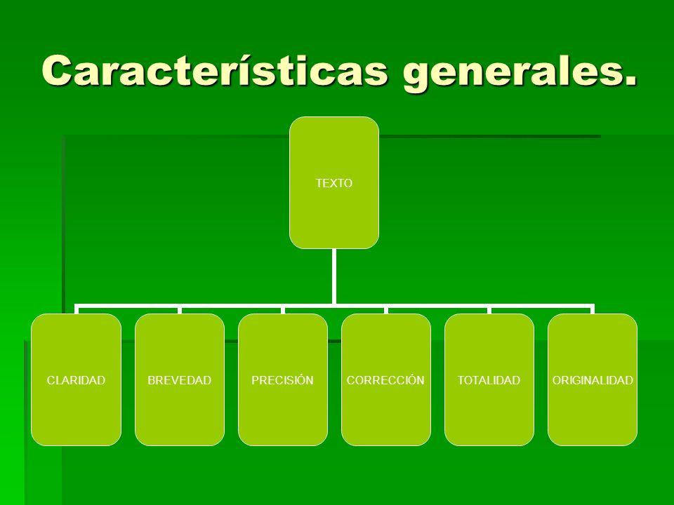 Características generales.
