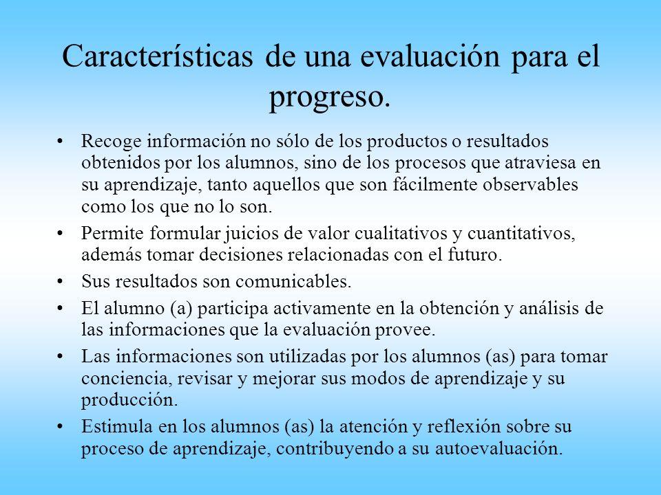Características de una evaluación para el progreso.