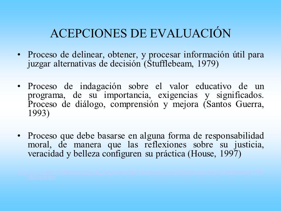 ACEPCIONES DE EVALUACIÓN
