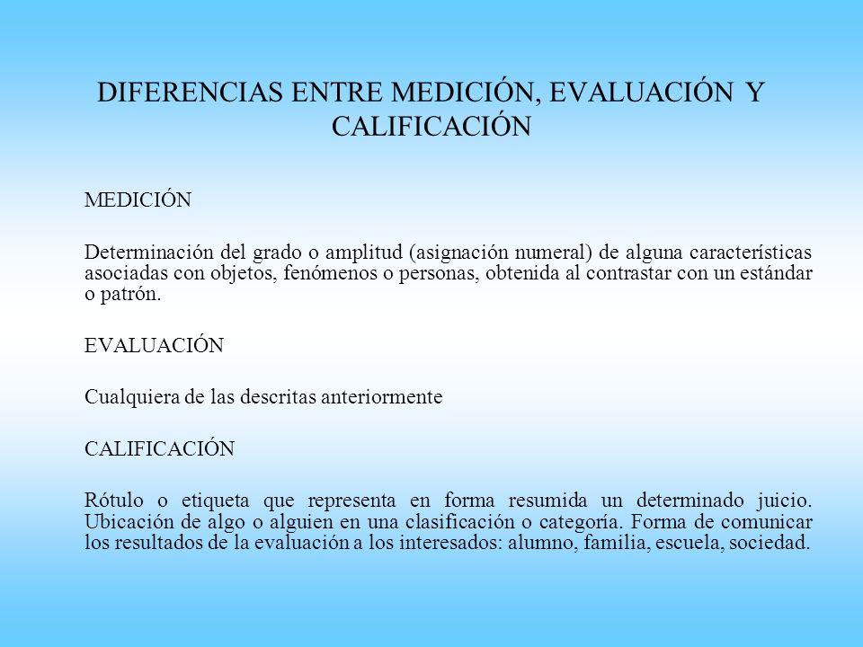 DIFERENCIAS ENTRE MEDICIÓN, EVALUACIÓN Y CALIFICACIÓN