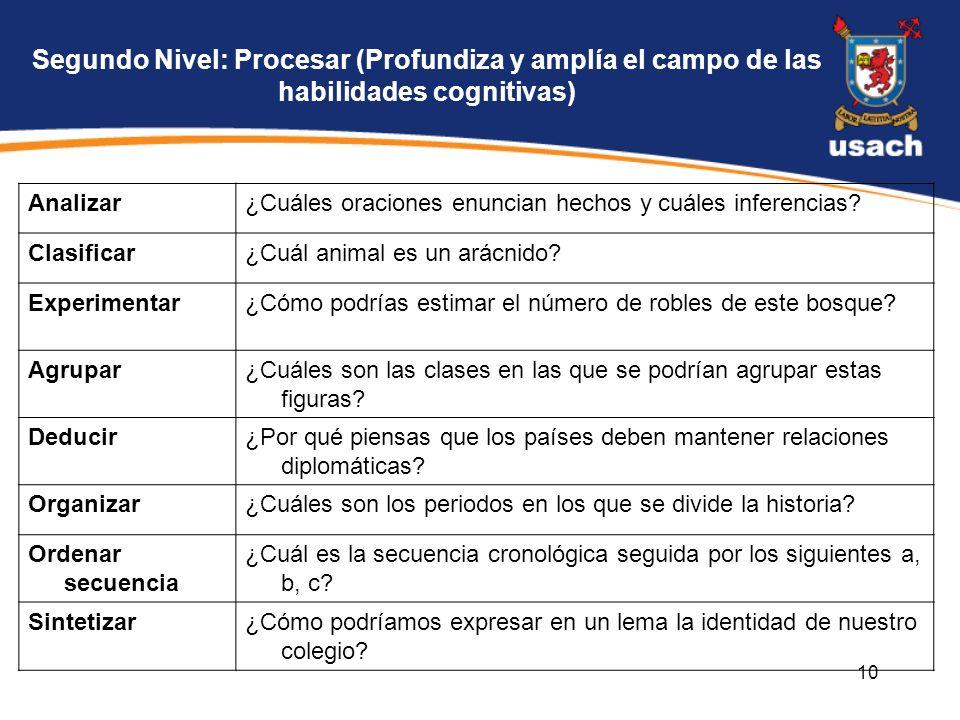 Segundo Nivel: Procesar (Profundiza y amplía el campo de las habilidades cognitivas)