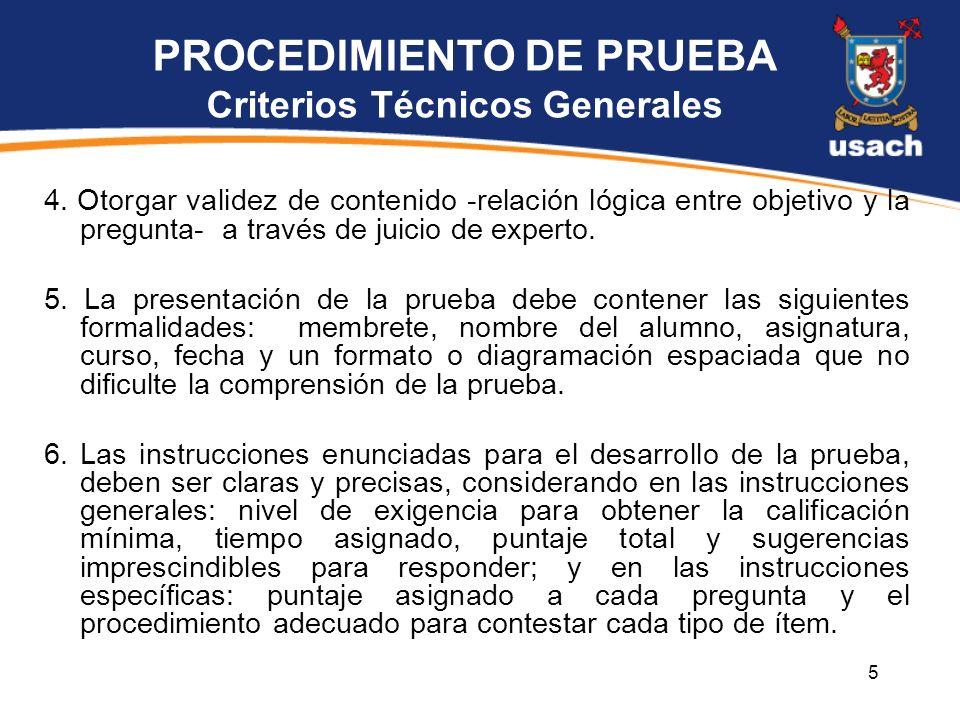 PROCEDIMIENTO DE PRUEBA Criterios Técnicos Generales