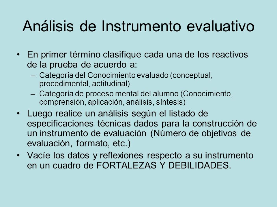 Análisis de Instrumento evaluativo