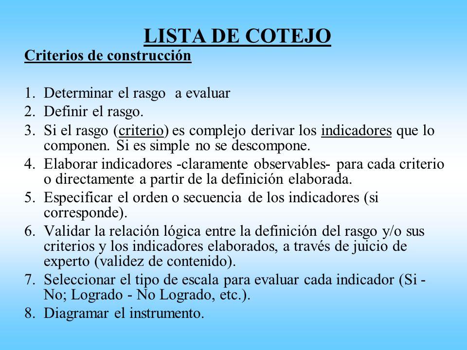 LISTA DE COTEJO Criterios de construcción