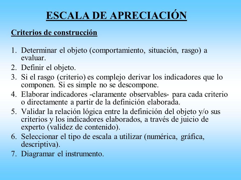 ESCALA DE APRECIACIÓN Criterios de construcción