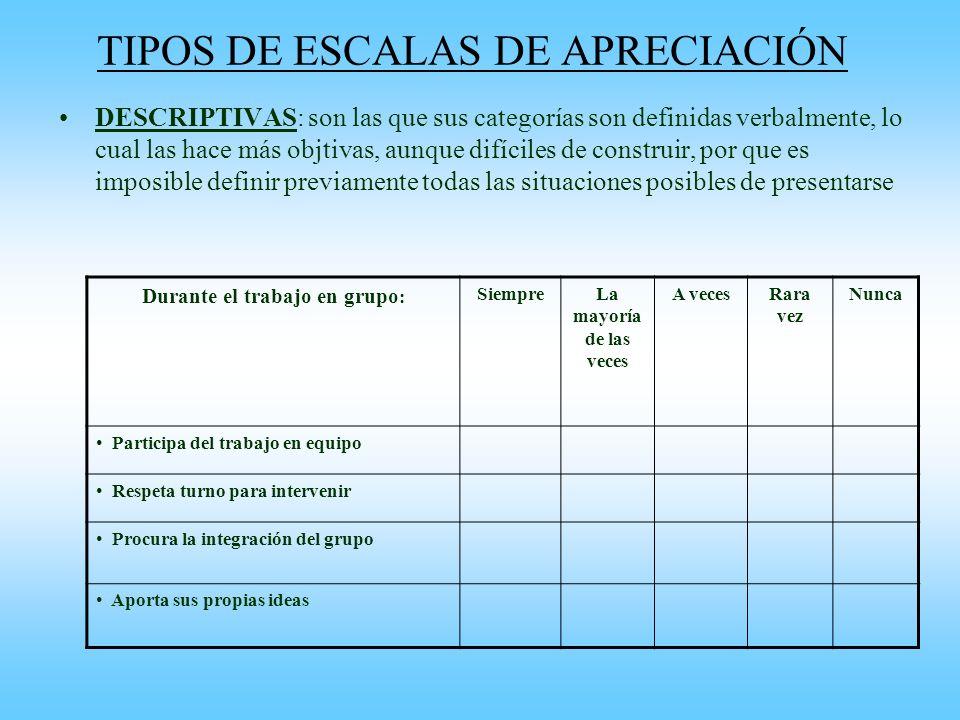 TIPOS DE ESCALAS DE APRECIACIÓN