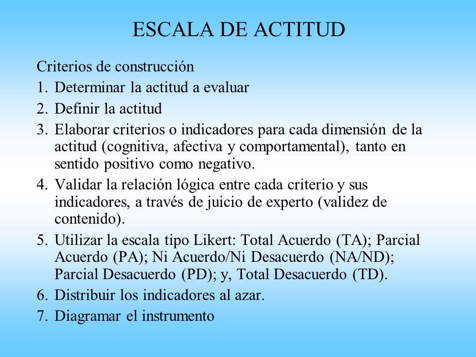 ESCALA DE ACTITUD Criterios de construcción
