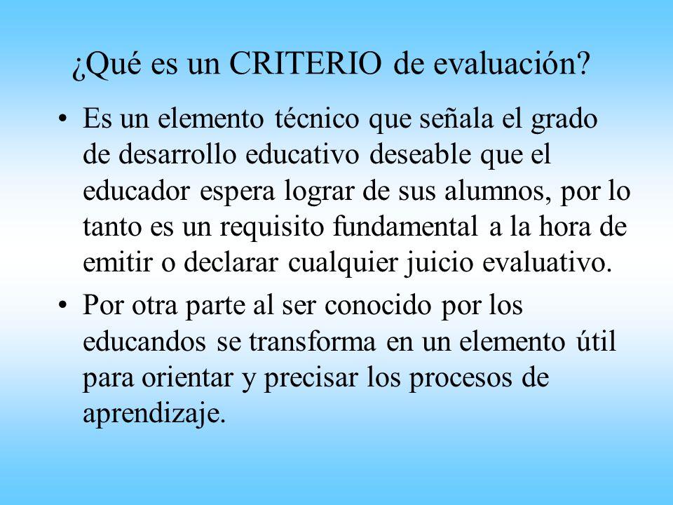 ¿Qué es un CRITERIO de evaluación