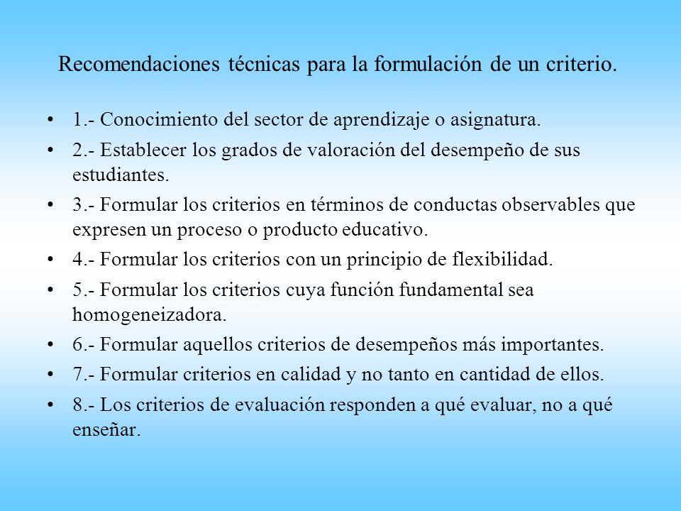 Recomendaciones técnicas para la formulación de un criterio.