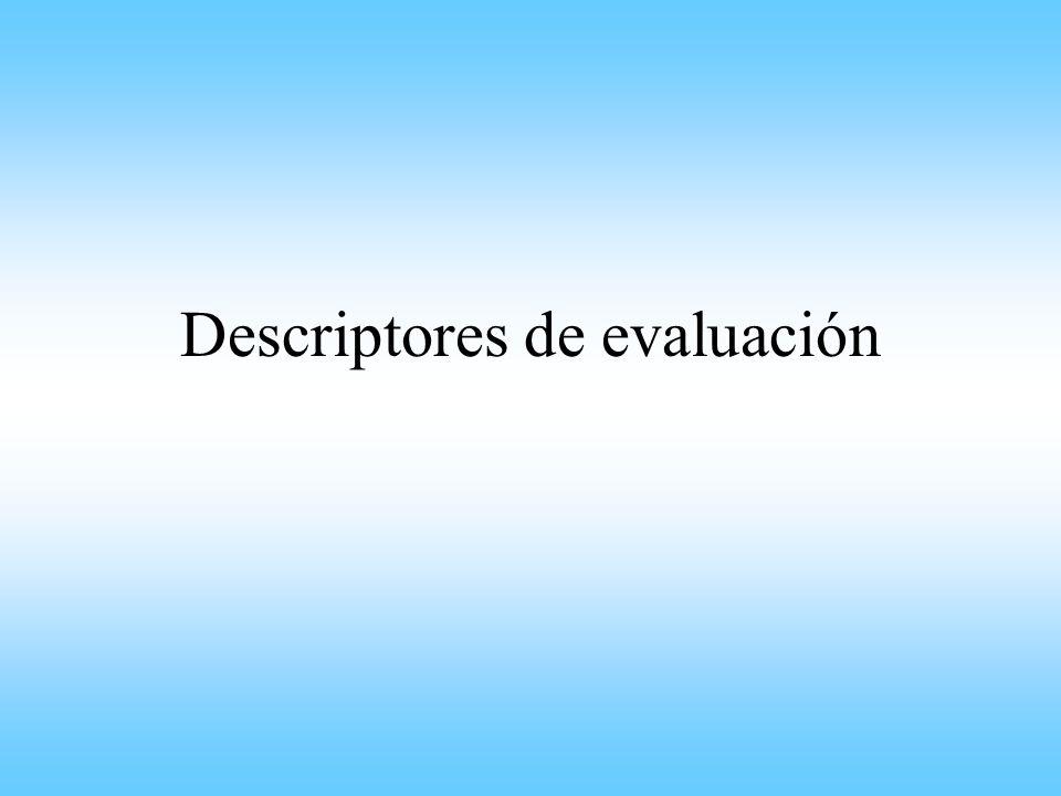 Descriptores de evaluación