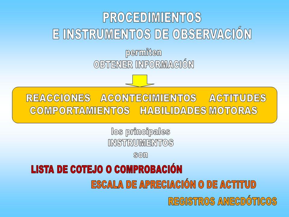E INSTRUMENTOS DE OBSERVACIÓN