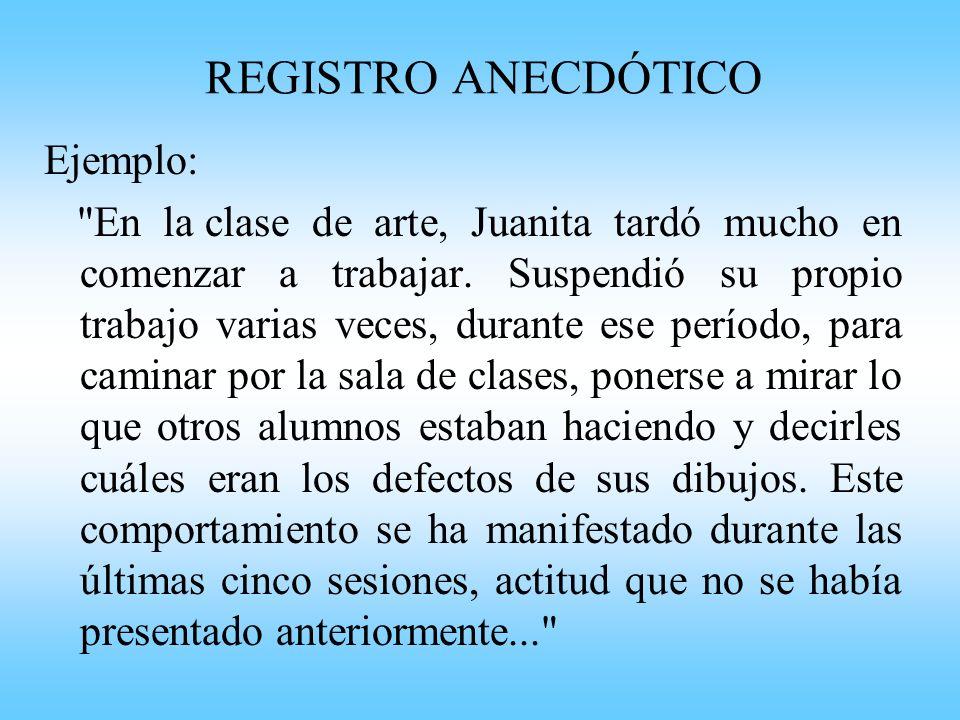 REGISTRO ANECDÓTICO Ejemplo: