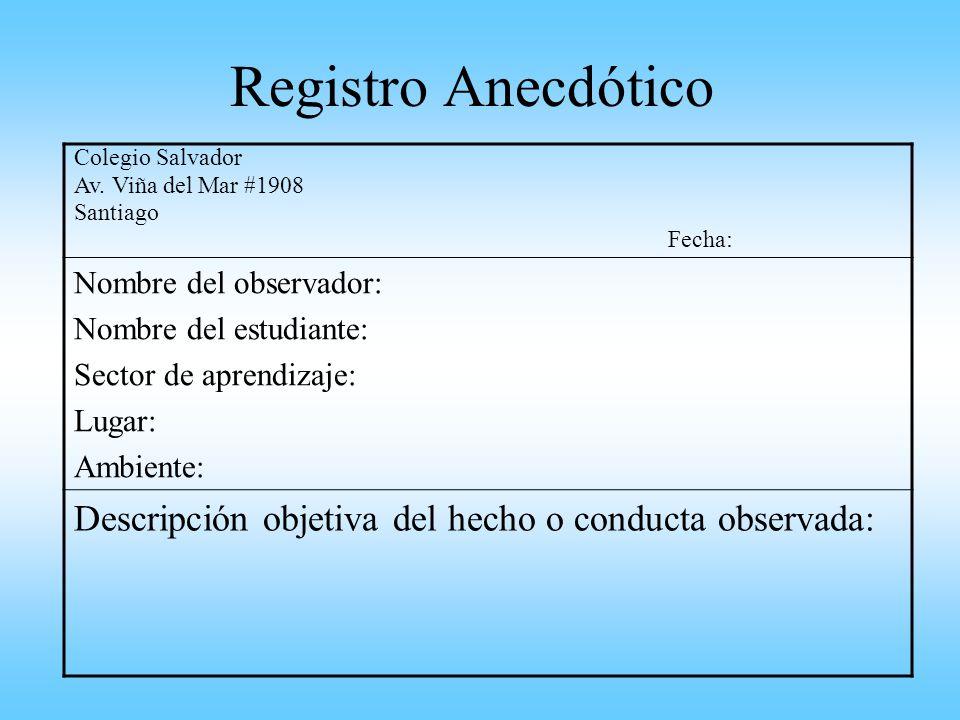 Registro Anecdótico Colegio Salvador. Av. Viña del Mar #1908. Santiago. Fecha: Nombre del observador: