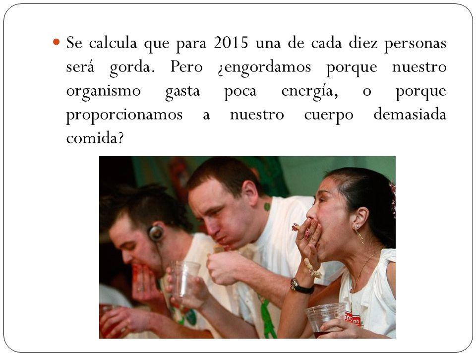Se calcula que para 2015 una de cada diez personas será gorda