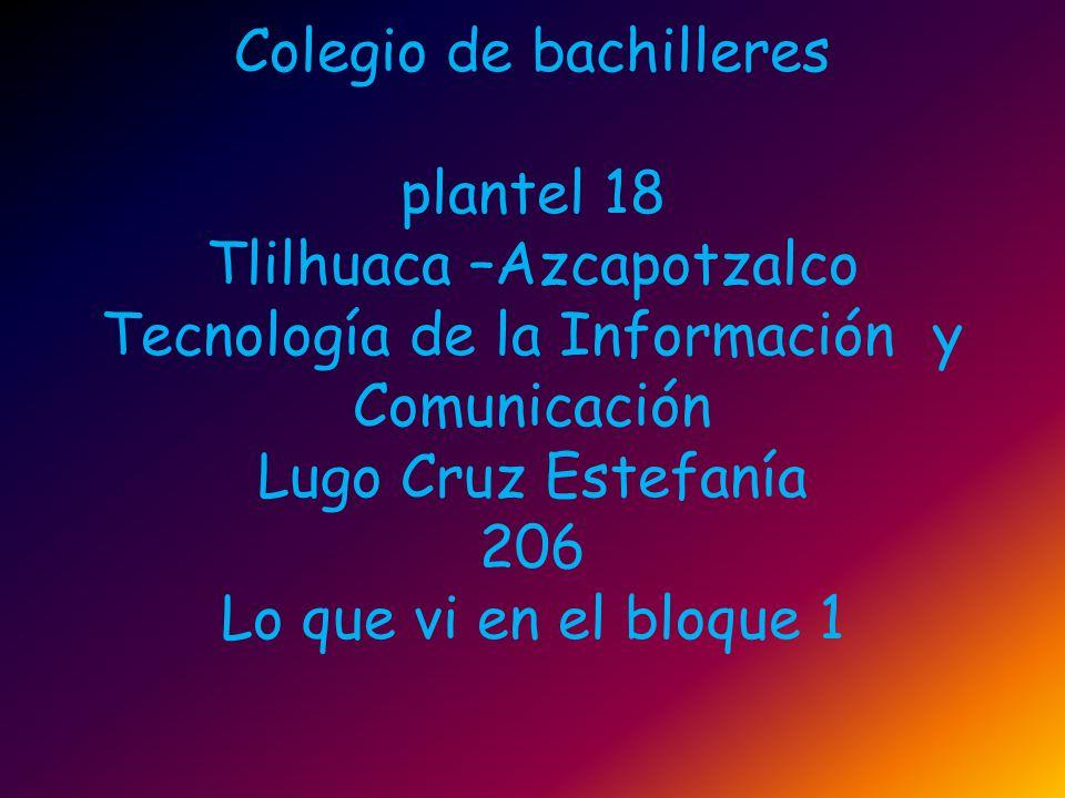 Colegio de bachilleres plantel 18 Tlilhuaca –Azcapotzalco Tecnología de la Información y Comunicación Lugo Cruz Estefanía 206 Lo que vi en el bloque 1