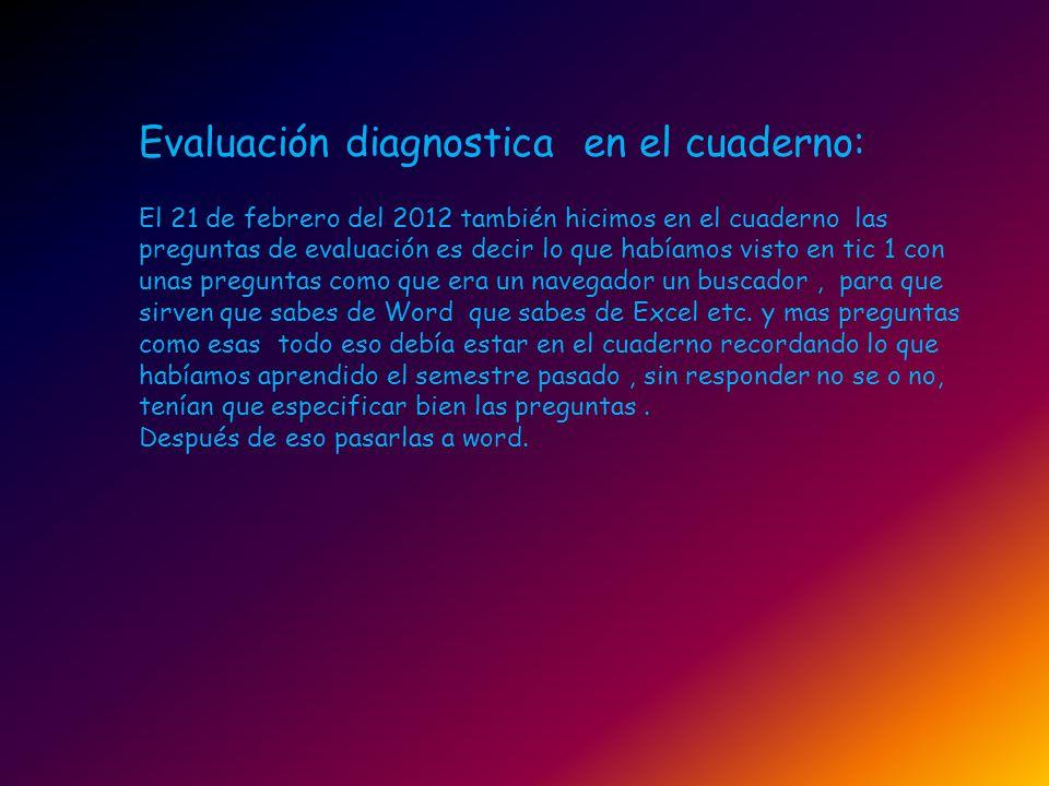 Evaluación diagnostica en el cuaderno: