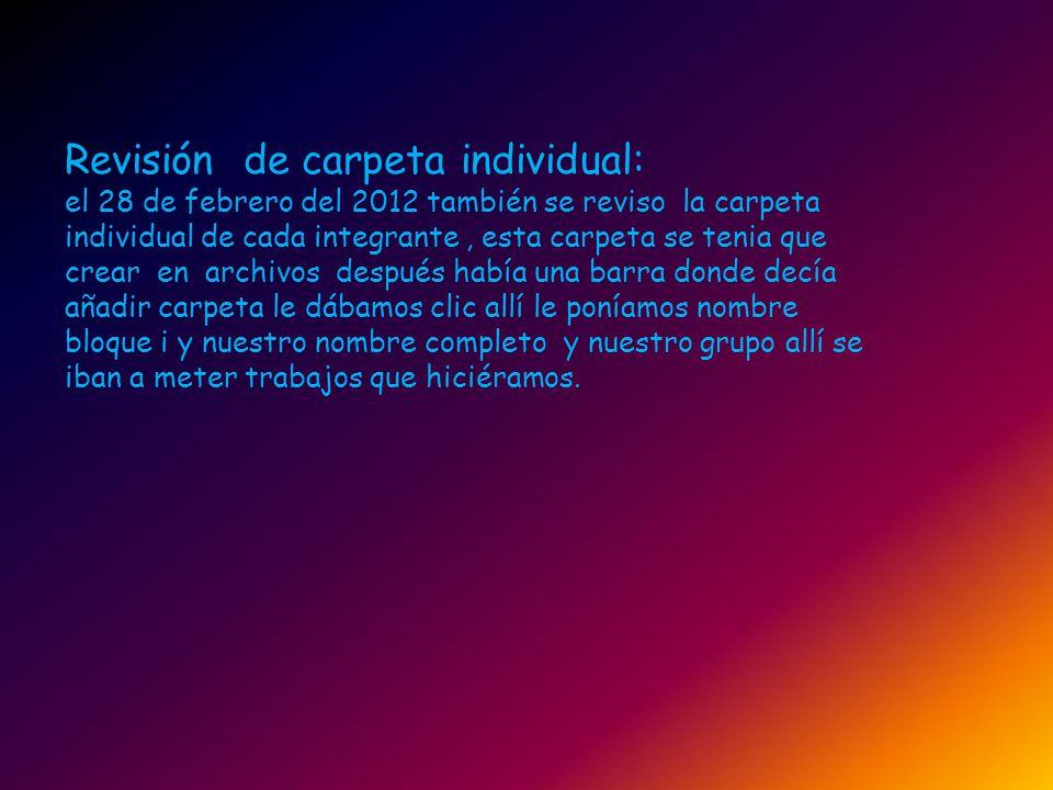 Revisión de carpeta individual: