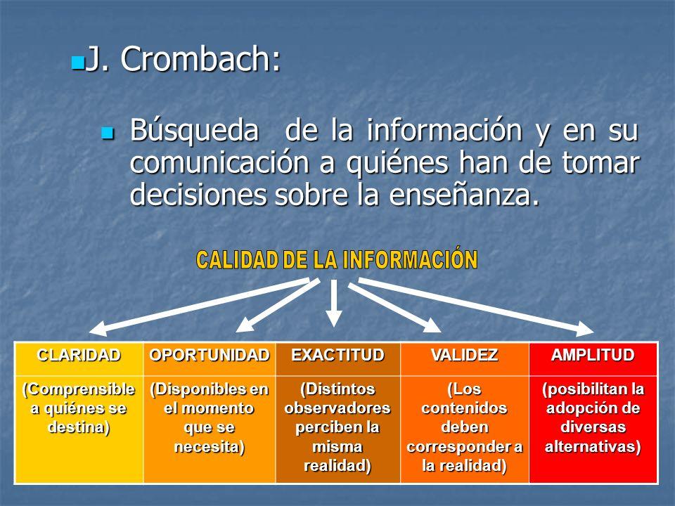 J. Crombach: Búsqueda de la información y en su comunicación a quiénes han de tomar decisiones sobre la enseñanza.