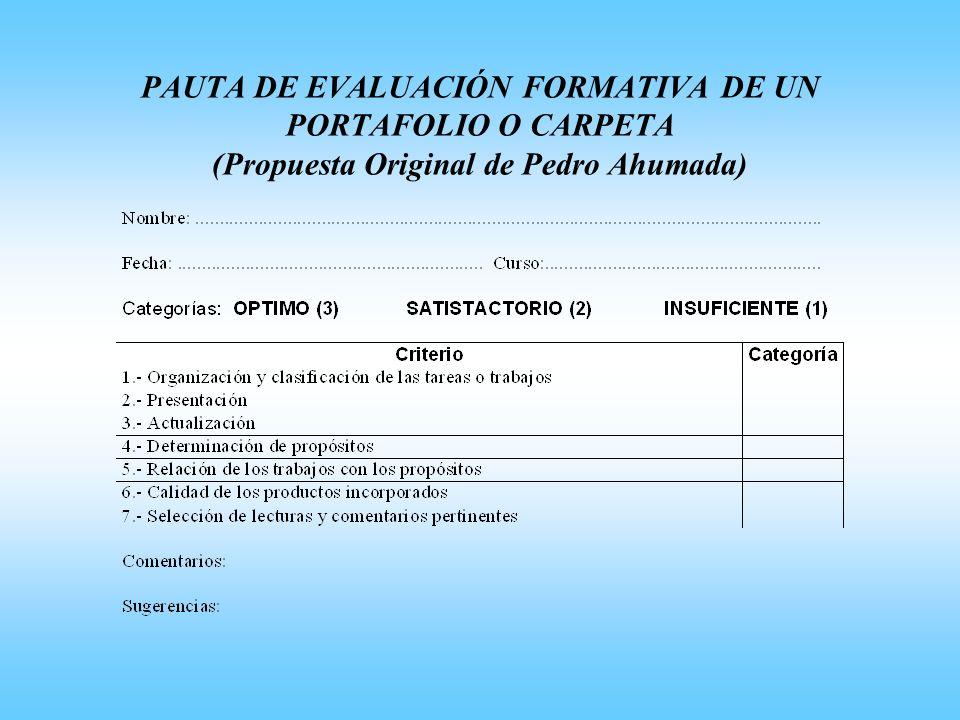 PAUTA DE EVALUACIÓN FORMATIVA DE UN PORTAFOLIO O CARPETA (Propuesta Original de Pedro Ahumada)