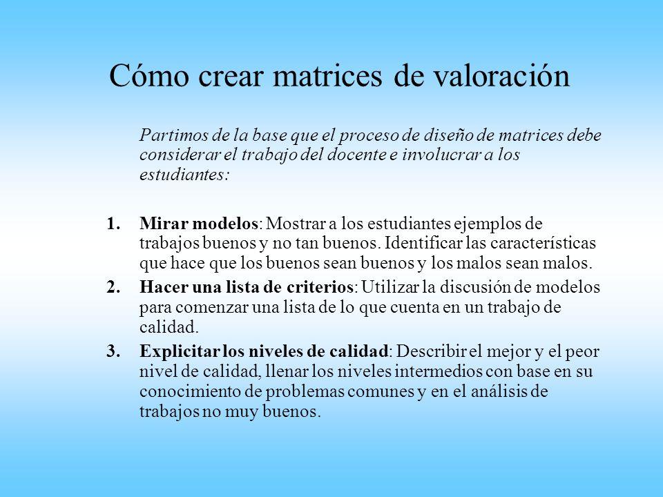 Cómo crear matrices de valoración