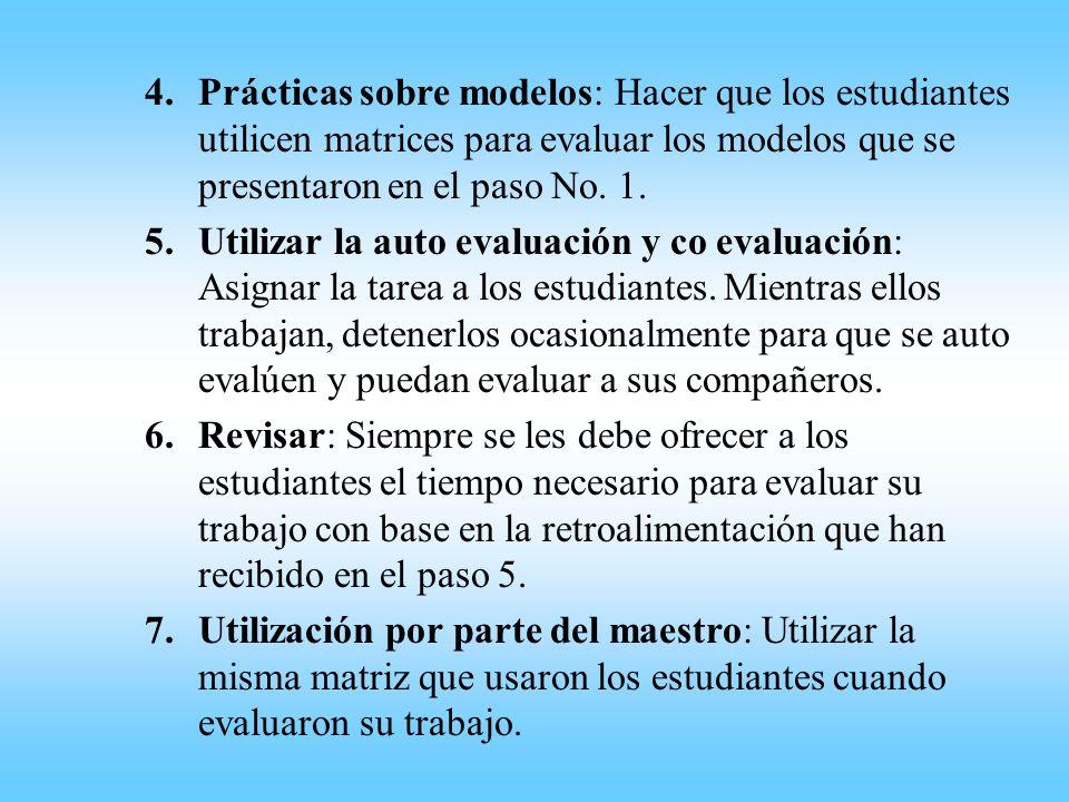 Prácticas sobre modelos: Hacer que los estudiantes utilicen matrices para evaluar los modelos que se presentaron en el paso No. 1.