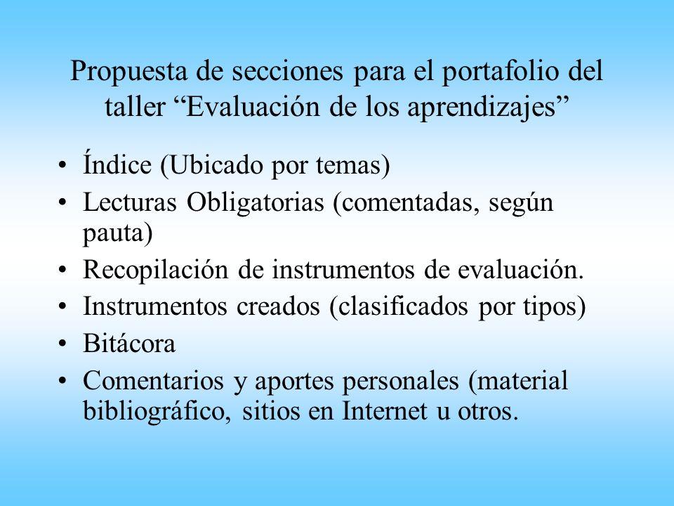 Propuesta de secciones para el portafolio del taller Evaluación de los aprendizajes