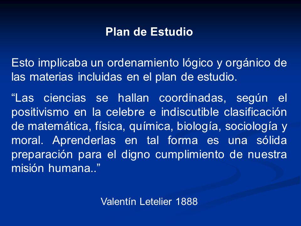 Plan de Estudio Esto implicaba un ordenamiento lógico y orgánico de las materias incluidas en el plan de estudio.