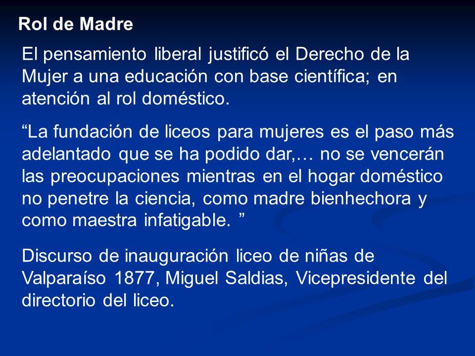 Rol de Madre El pensamiento liberal justificó el Derecho de la Mujer a una educación con base científica; en atención al rol doméstico.