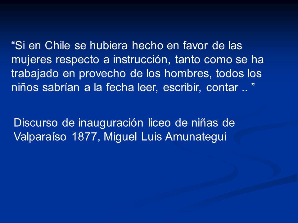 Si en Chile se hubiera hecho en favor de las mujeres respecto a instrucción, tanto como se ha trabajado en provecho de los hombres, todos los niños sabrían a la fecha leer, escribir, contar ..
