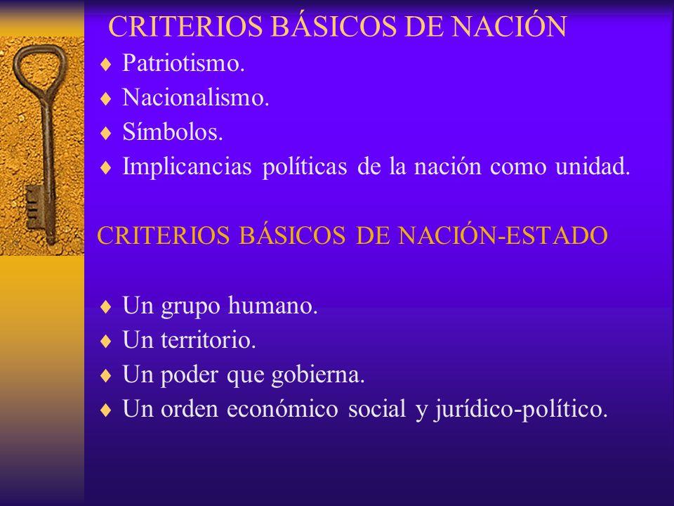 CRITERIOS BÁSICOS DE NACIÓN