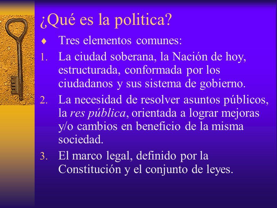 ¿Qué es la politica Tres elementos comunes: