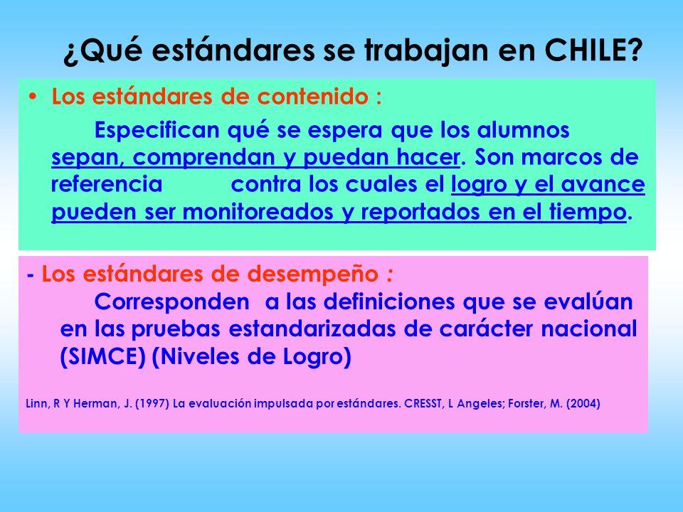¿Qué estándares se trabajan en CHILE