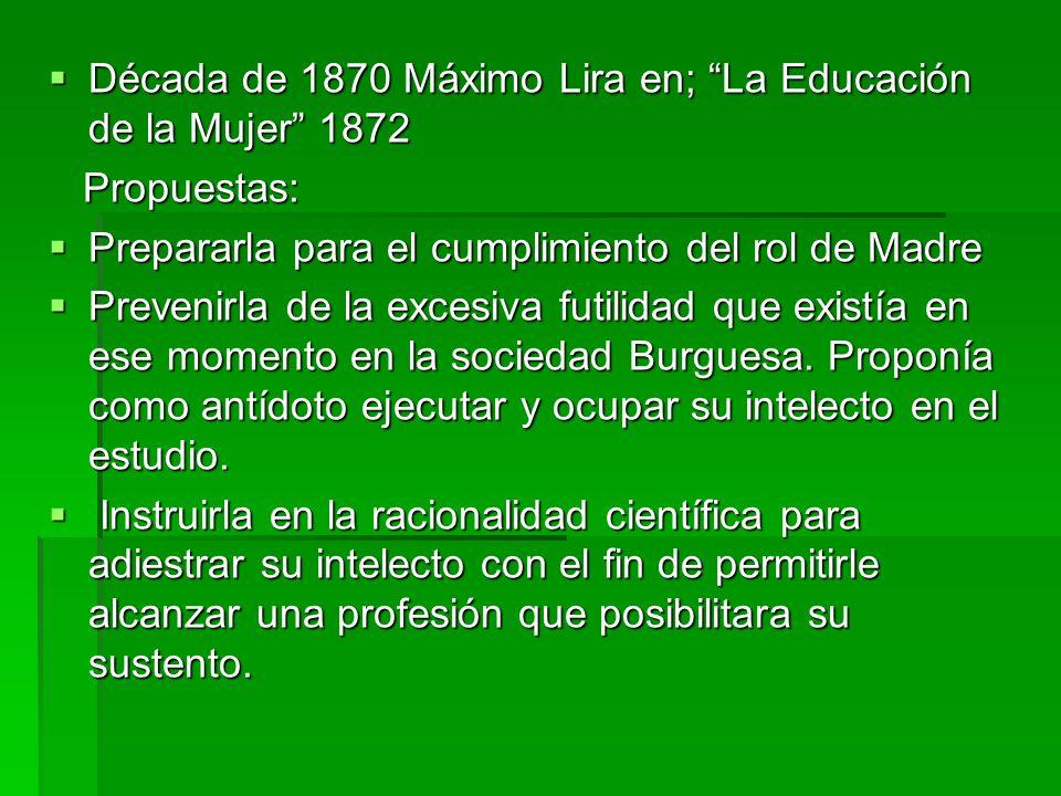 Década de 1870 Máximo Lira en; La Educación de la Mujer 1872