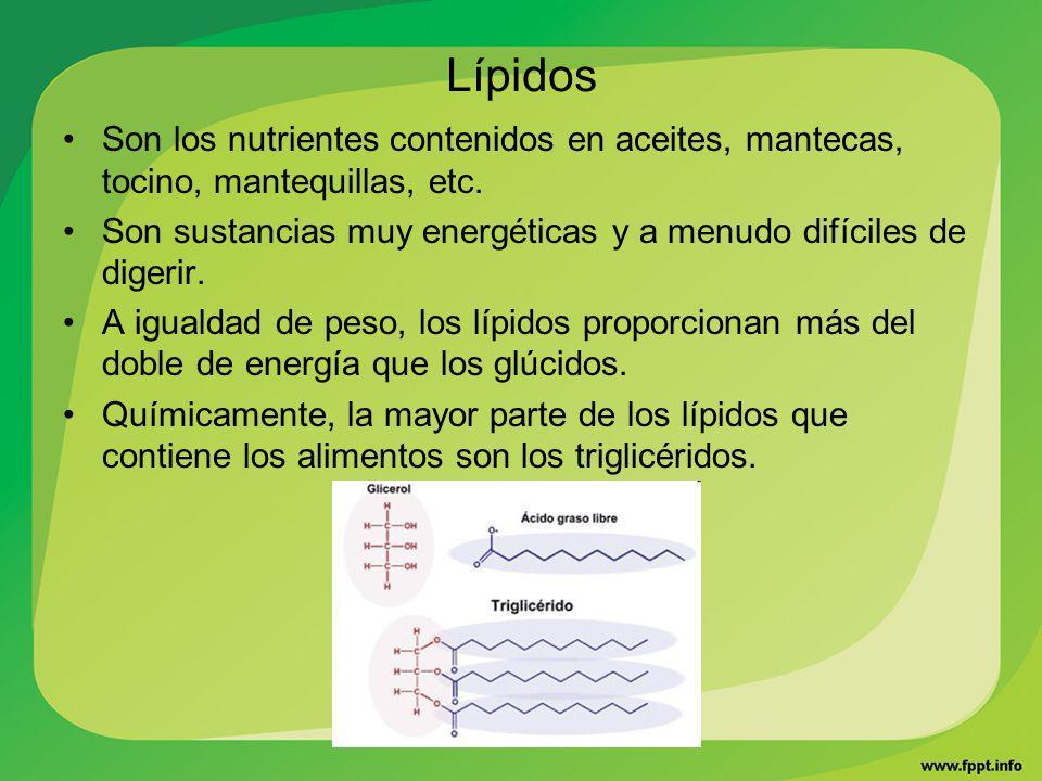 LípidosSon los nutrientes contenidos en aceites, mantecas, tocino, mantequillas, etc.