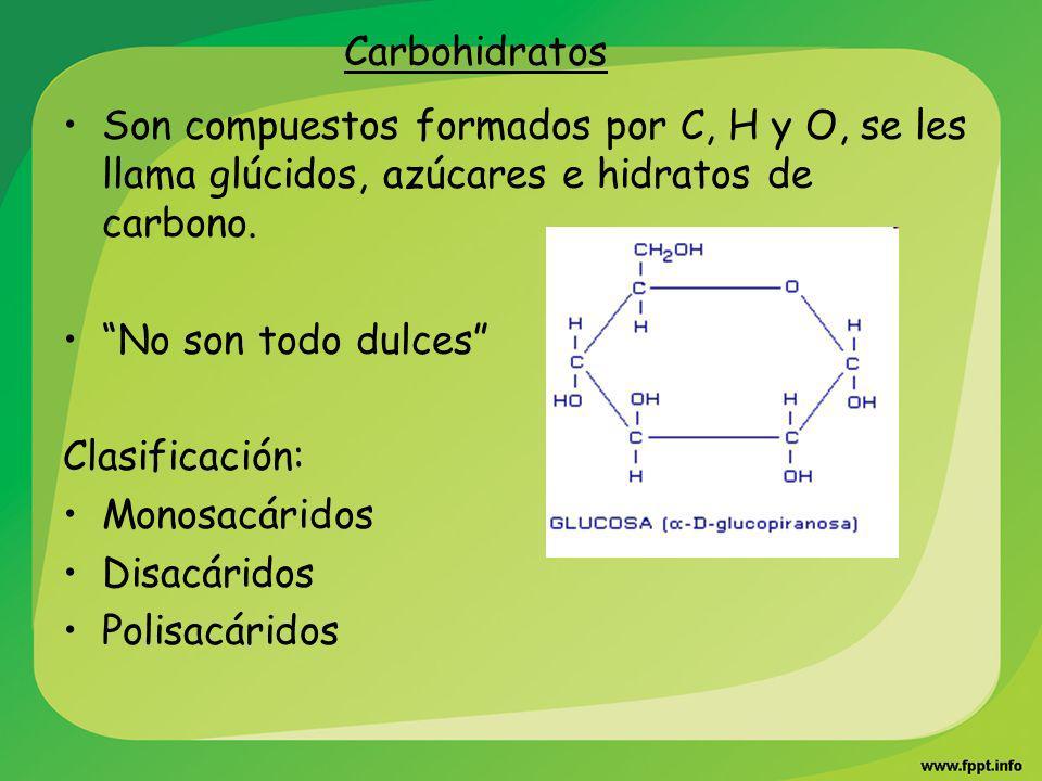 Carbohidratos Son compuestos formados por C, H y O, se les llama glúcidos, azúcares e hidratos de carbono.
