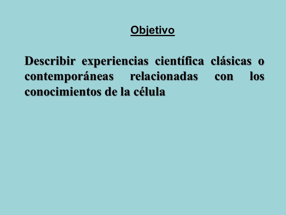 Objetivo Describir experiencias científica clásicas o contemporáneas relacionadas con los conocimientos de la célula.