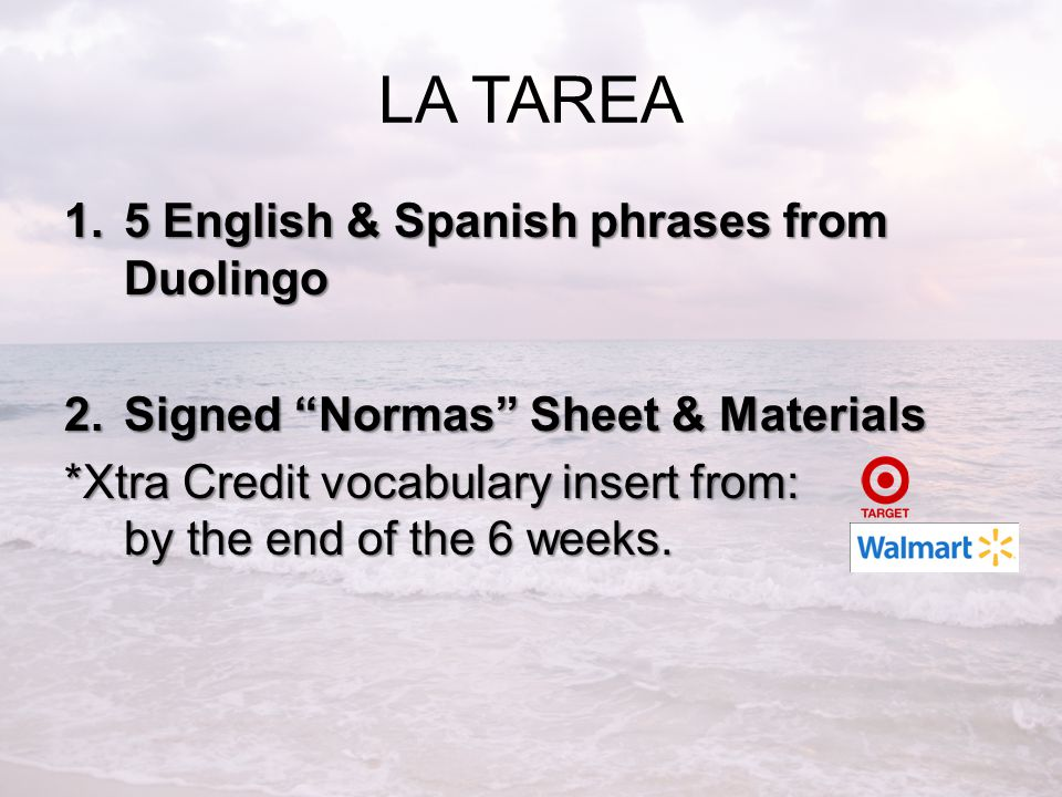 LA TAREA 5 English & Spanish phrases from Duolingo