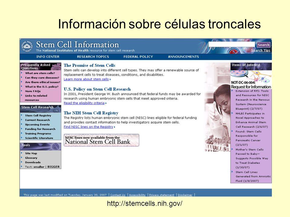 Información sobre células troncales