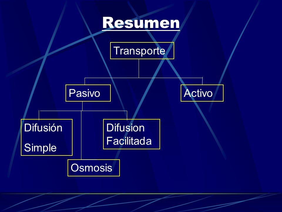 Resumen Transporte Pasivo Activo Difusión Simple Difusion Facilitada