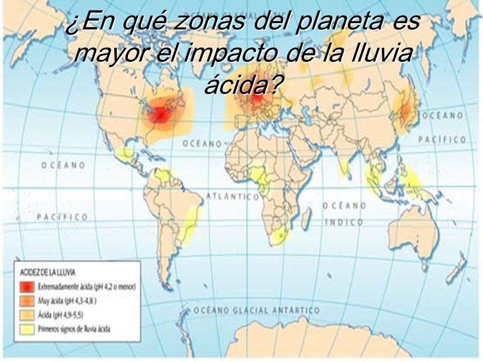¿En qué zonas del planeta es mayor el impacto de la lluvia ácida