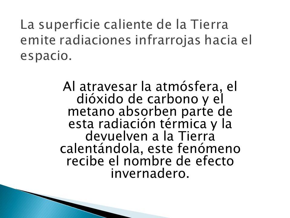 La superficie caliente de la Tierra emite radiaciones infrarrojas hacia el espacio.
