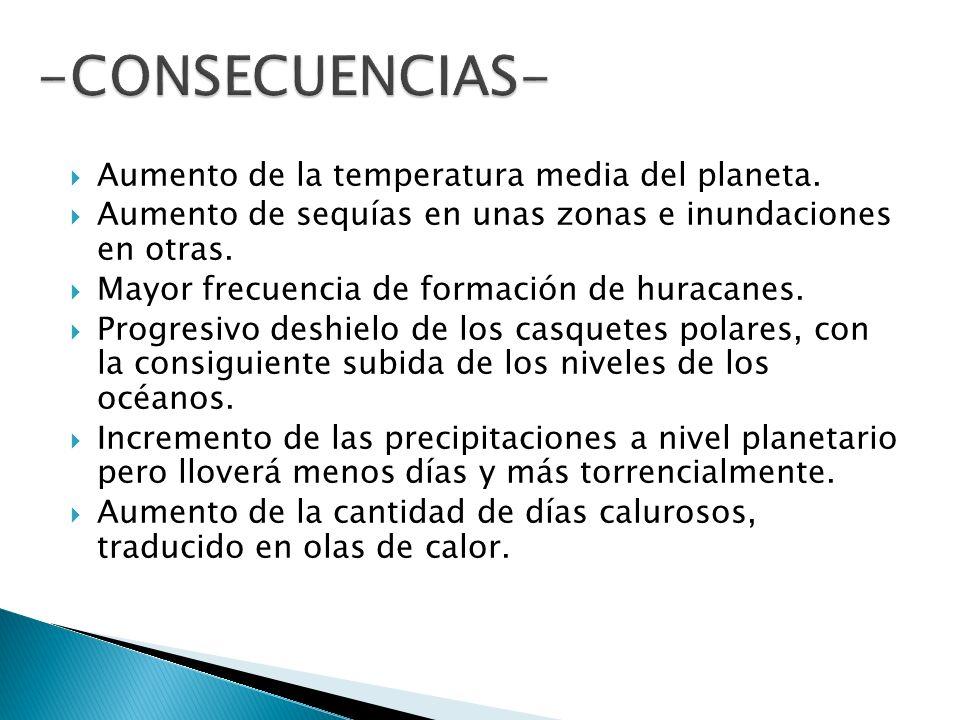 -CONSECUENCIAS- Aumento de la temperatura media del planeta.