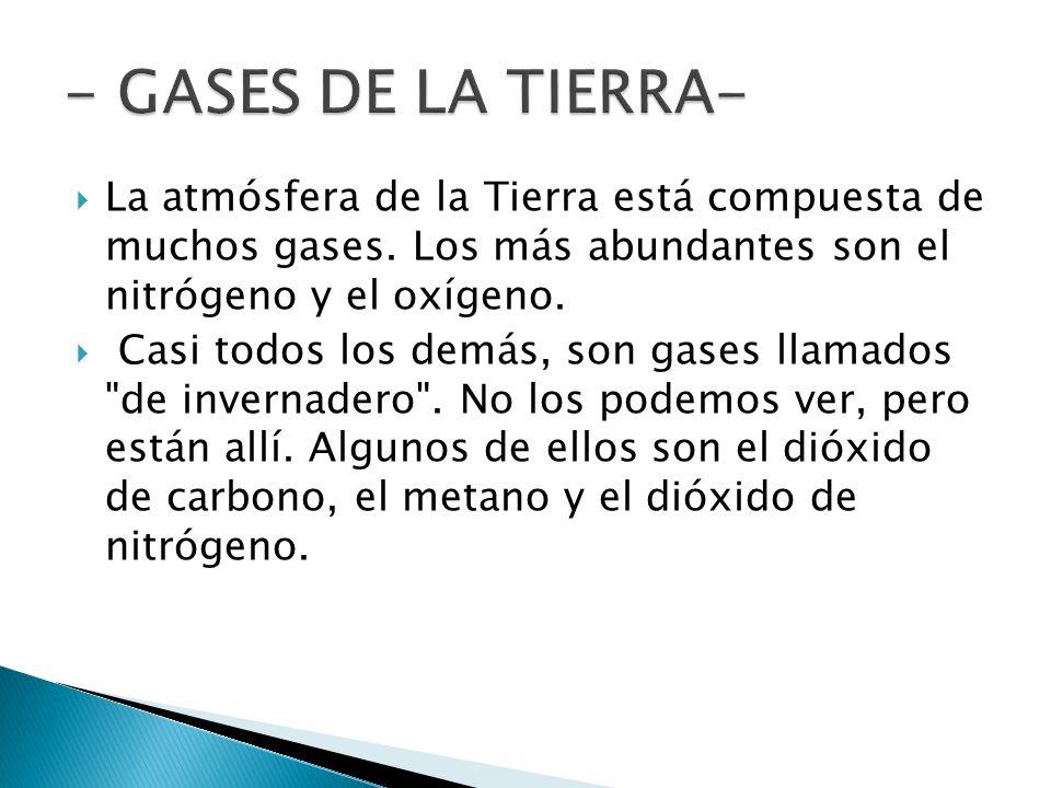 - GASES DE LA TIERRA- La atmósfera de la Tierra está compuesta de muchos gases. Los más abundantes son el nitrógeno y el oxígeno.