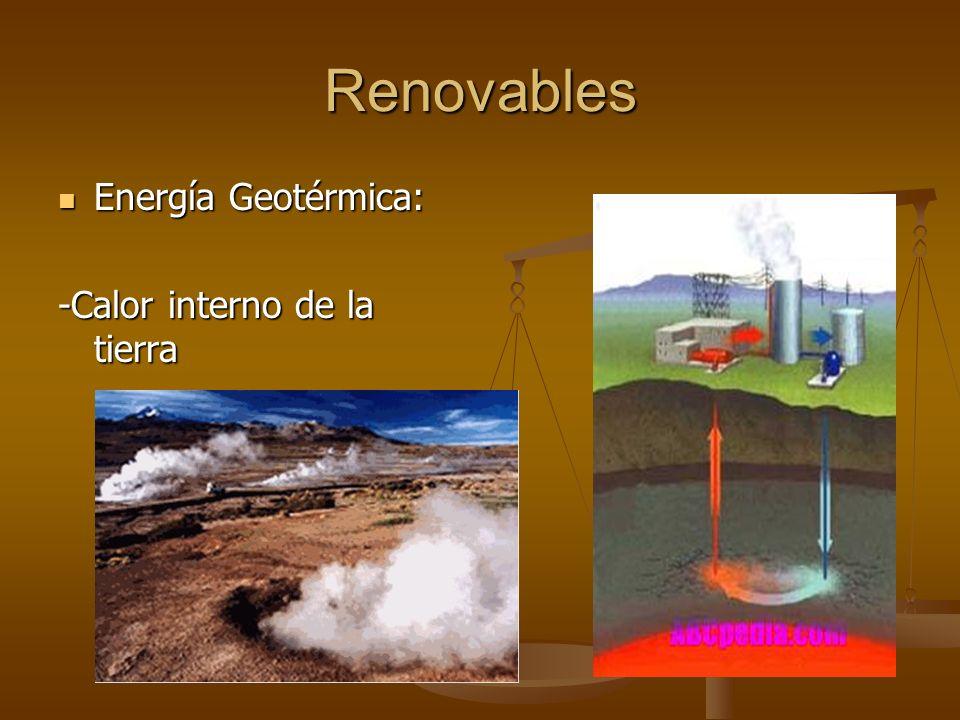 Renovables Energía Geotérmica: -Calor interno de la tierra