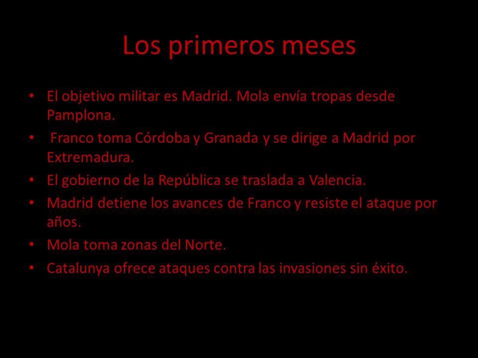Los primeros meses El objetivo militar es Madrid. Mola envía tropas desde Pamplona.